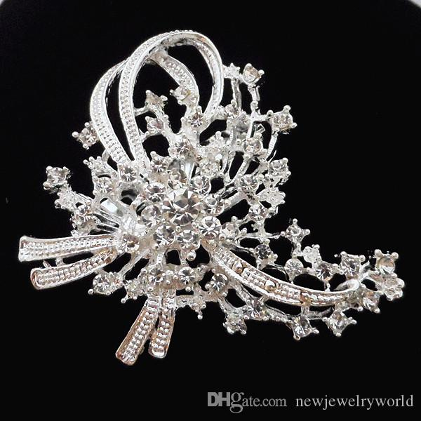 Bling Bling Clear Diamante Crystal Silver Plated Big Flower Wedding Bridal Bouquet Brooch Fashion Women Scarf Pins Jewelry For Women B918
