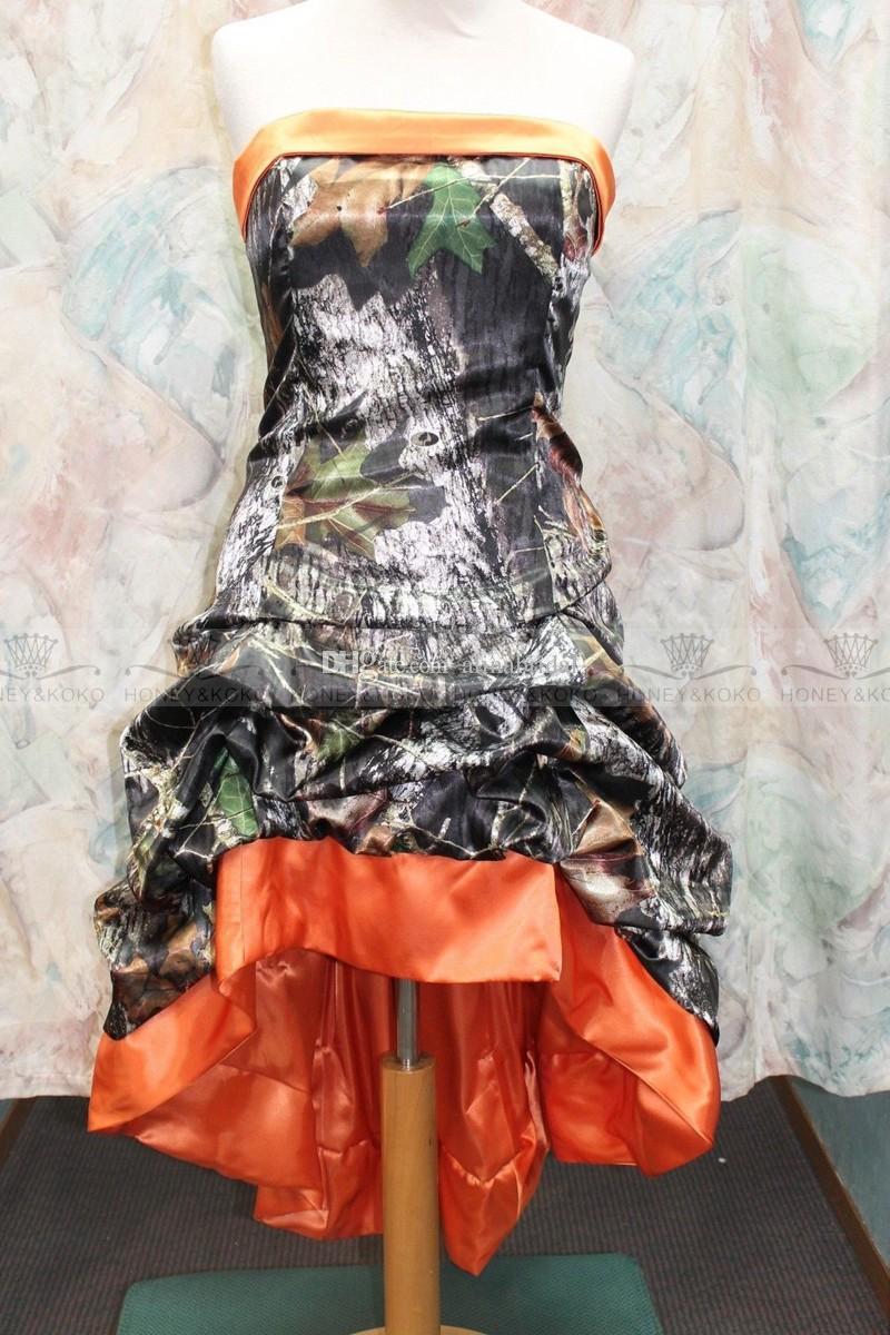Gotik Diz boyu Turuncu Camo Gelinlik 2015 Yeni Tasarımcı Straplez A-line Custom Made Artı Boyutu Yüksek Düşük Gelinlik Gelin törenlerinde