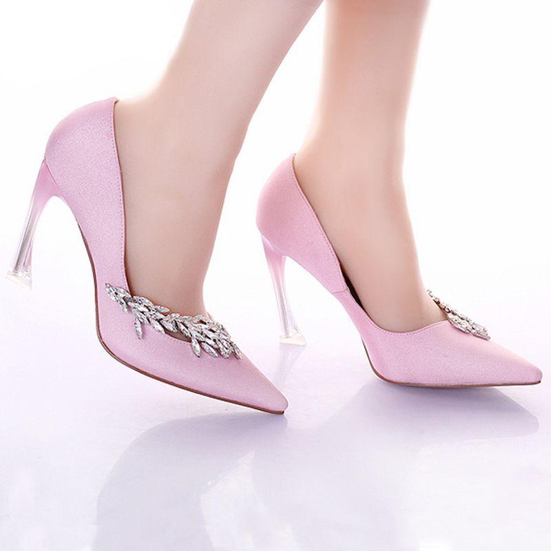 Bombas de las mujeres de la moda Strange Heel nupcial de la boda zapatos de punta estrecha rosa banquete zapatos de satén Prom zapatos de tacón alto