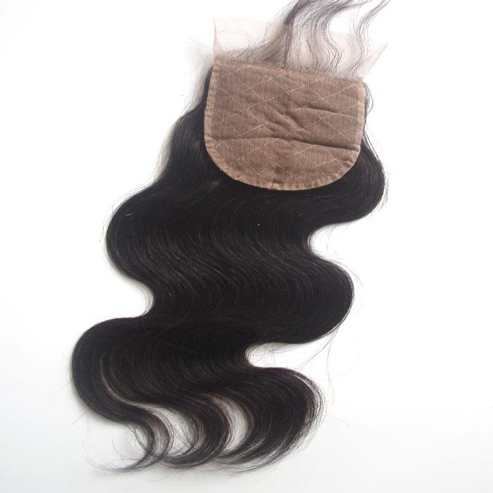 Unprocessed Human Hair Silk Base Closure Body Wave Free Part Brazilian Peruvian Indian Malaysian Virgin Hair Natural Color Dyeable 8-20 inch