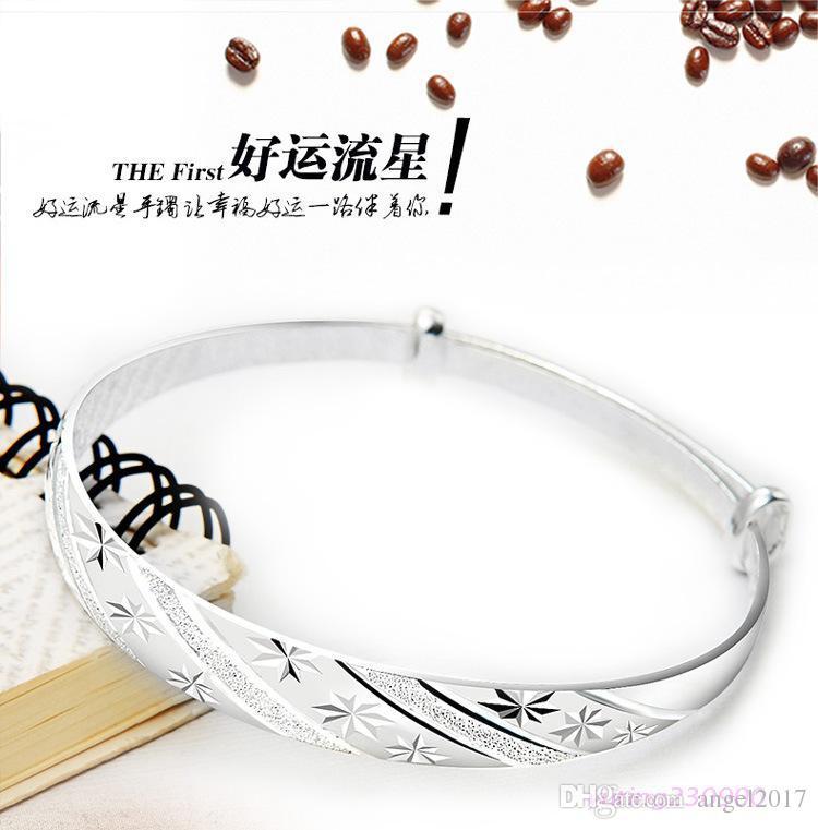 Корейская мода серебряные ювелирные изделия метеоритный дождь раздвижные кольца 999 женские модели прекрасный серебряный браслет День Святого Валентина подарок для отправки его подруга