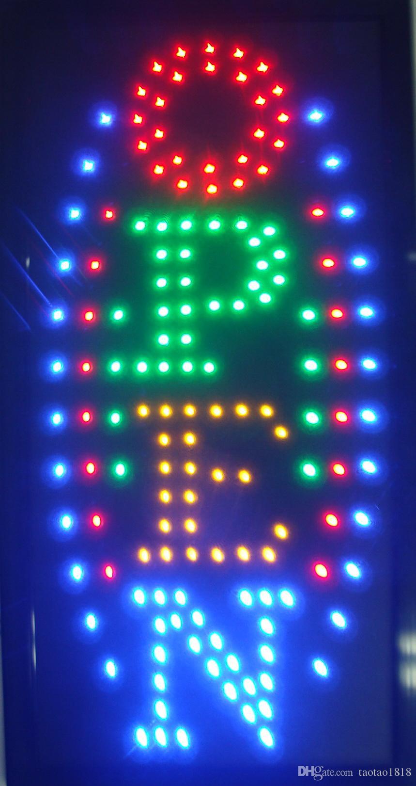 10 * 19 pulgadas Animated Motion LED Business Muestra abierta vertical + Interruptor de encendido / apagado Neón de luz brillante
