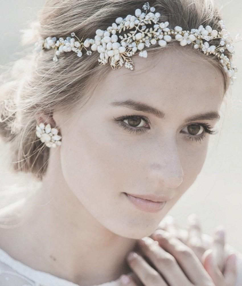 classic pearls ivory head piece wedding pearls with crystal