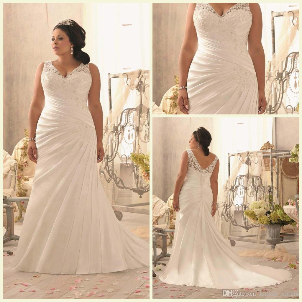 2015 Wedding Dresses Mermaid V Neck Covered Button Court Train ...
