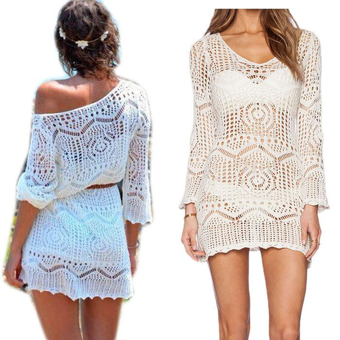 2019 Summer Plus Size Crochet Swimwear Beach Cover Up Women White