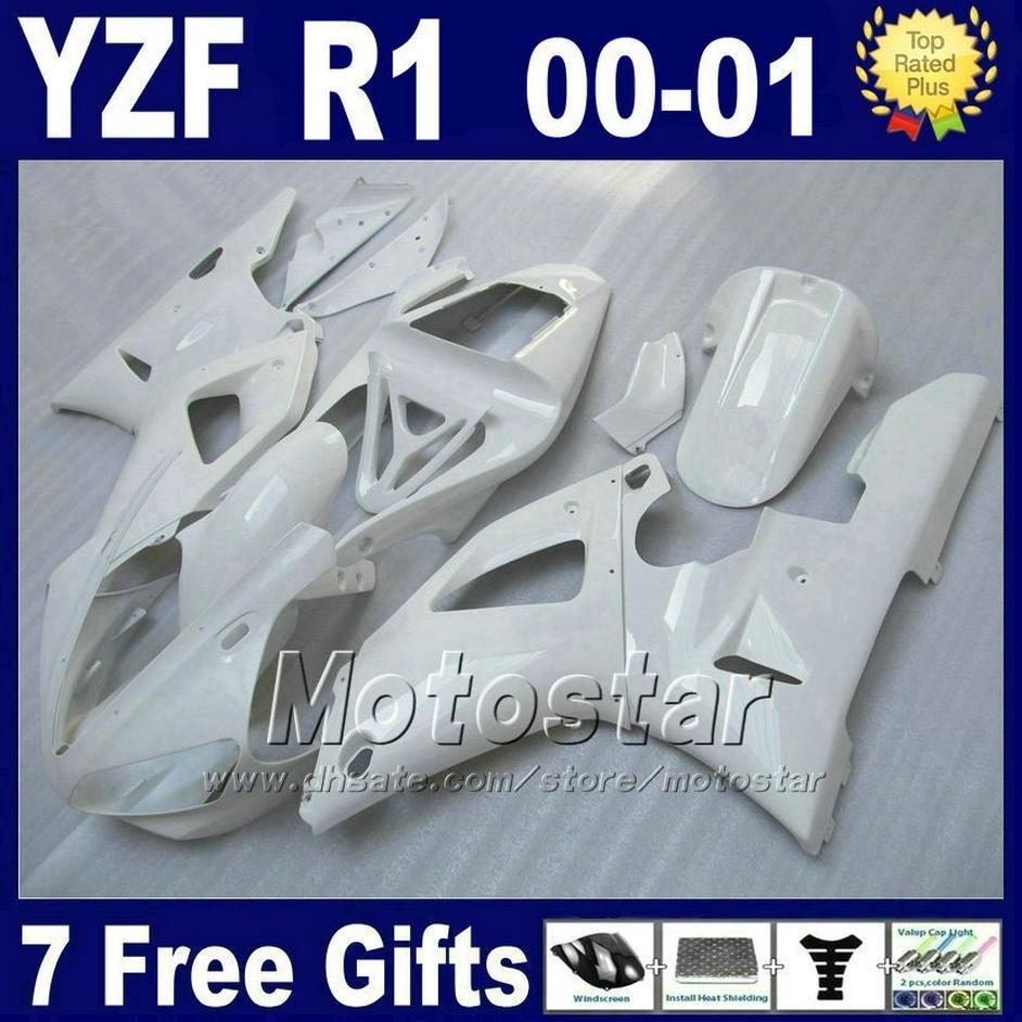 Tous les carénages blancs pour les kits de carénage YAMAHA YZF R1 00 01 2000 2001 YZFR1 yzf1000 W16F pièces plastiques de haute qualité + 7 cadeaux