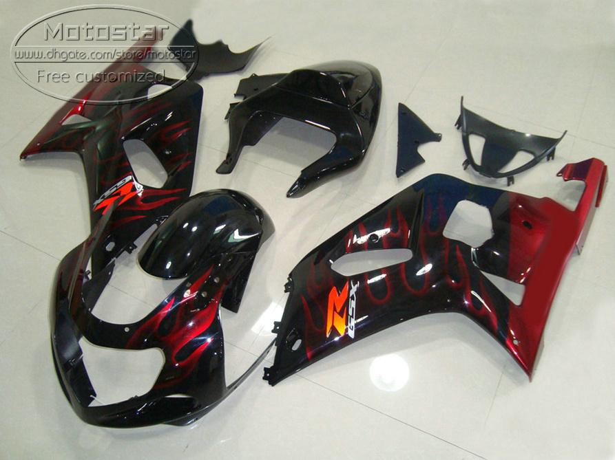 Fairing kit for SUZUKI GSX-R1000 K2 2000 2001 2002 plastic fairings 00 01 02 GSXR 1000 red flames in black aftermarket set YR59