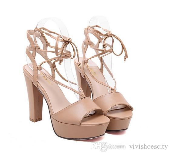 cdddf82de87 Rome Style Women Beige Ankle Wrap Platform Thick Heel Shoes ...