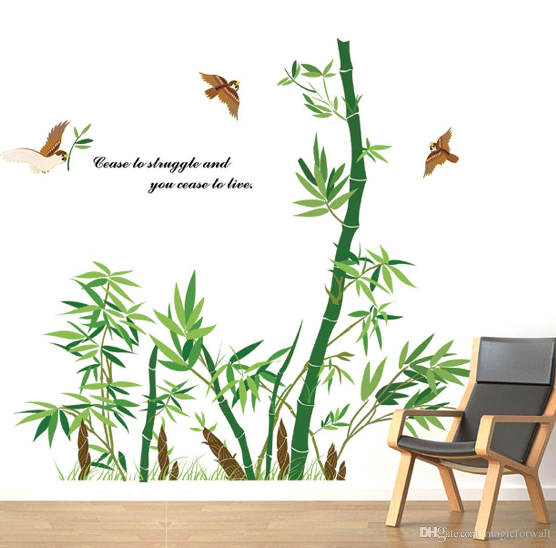 Bamboo Forest Wall Art Mural Decor Cease to Struggle and You Cease to live Wall Quote Decal Poster Home Decoration Wallpaper Sticker
