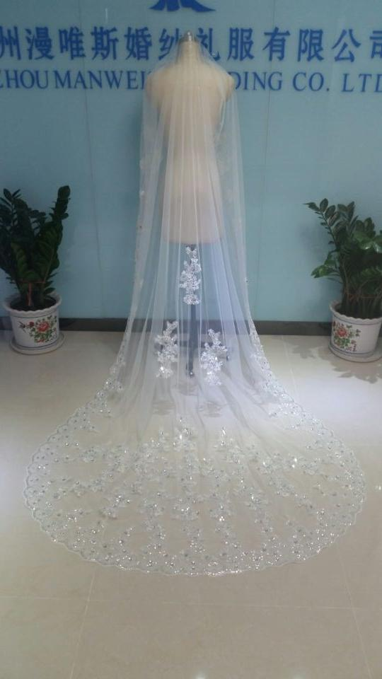 Real Image One Layer Three Meters Long Bridal Veils Lace Sequined Appliqued Edge Cathedral Tulle Cheap Crystals Beads Wedding Veil With Comb