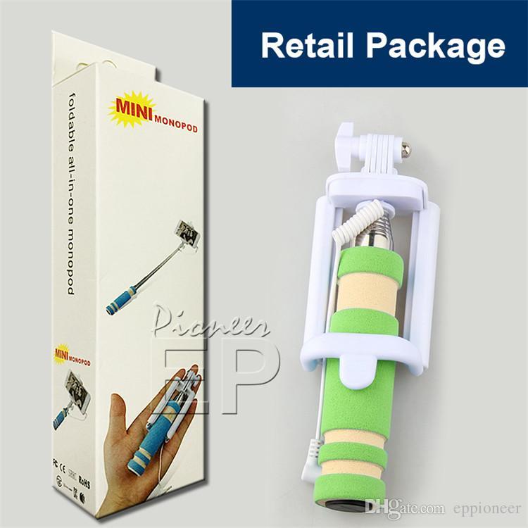NOVITÀ Pieghevole Super Mini Wired Selfie Stick Handheld Allungabile Monopiede con otturatore cablato Maniglia Compatibile con il cellulare