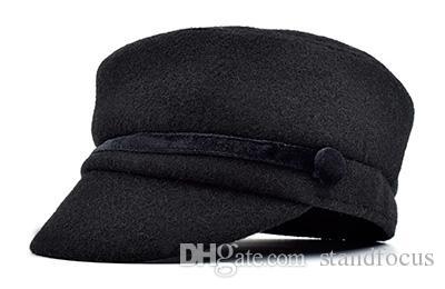 Estande Foco Mulheres Militar Do Exército Cadete Hat Cap Senhoras Moda Tweed Queda de Inverno Plano Grosso Quente Moda Borgonha Cinza Preto