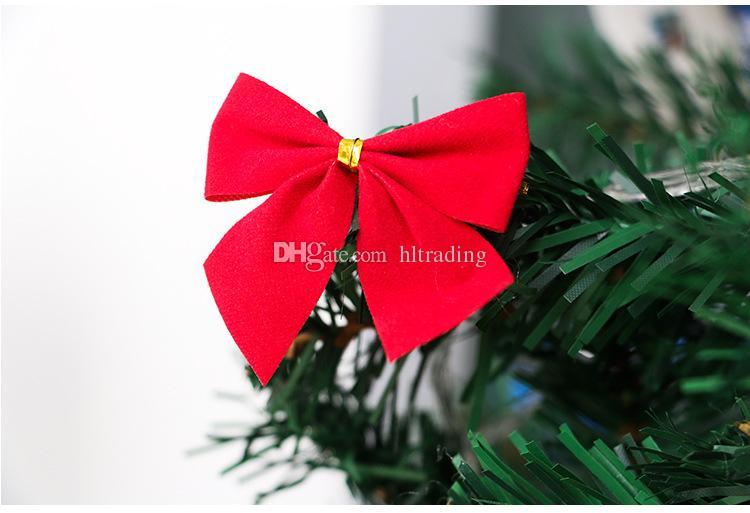 Albero di Natale Decorazione Ciondolo a fiocco Piccolo Ornamento a forma di arco albero di Natale Albero pendente oro rosso argento i C3157