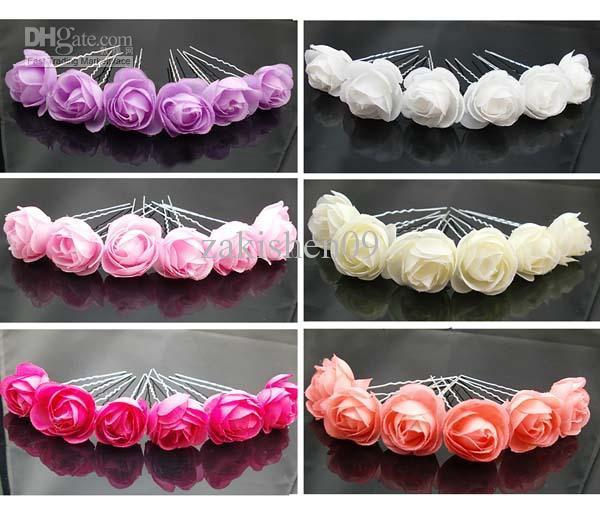 24px small silk rose flower hair pins wedding bridal flowers accessory bridesmaids see larger image mightylinksfo