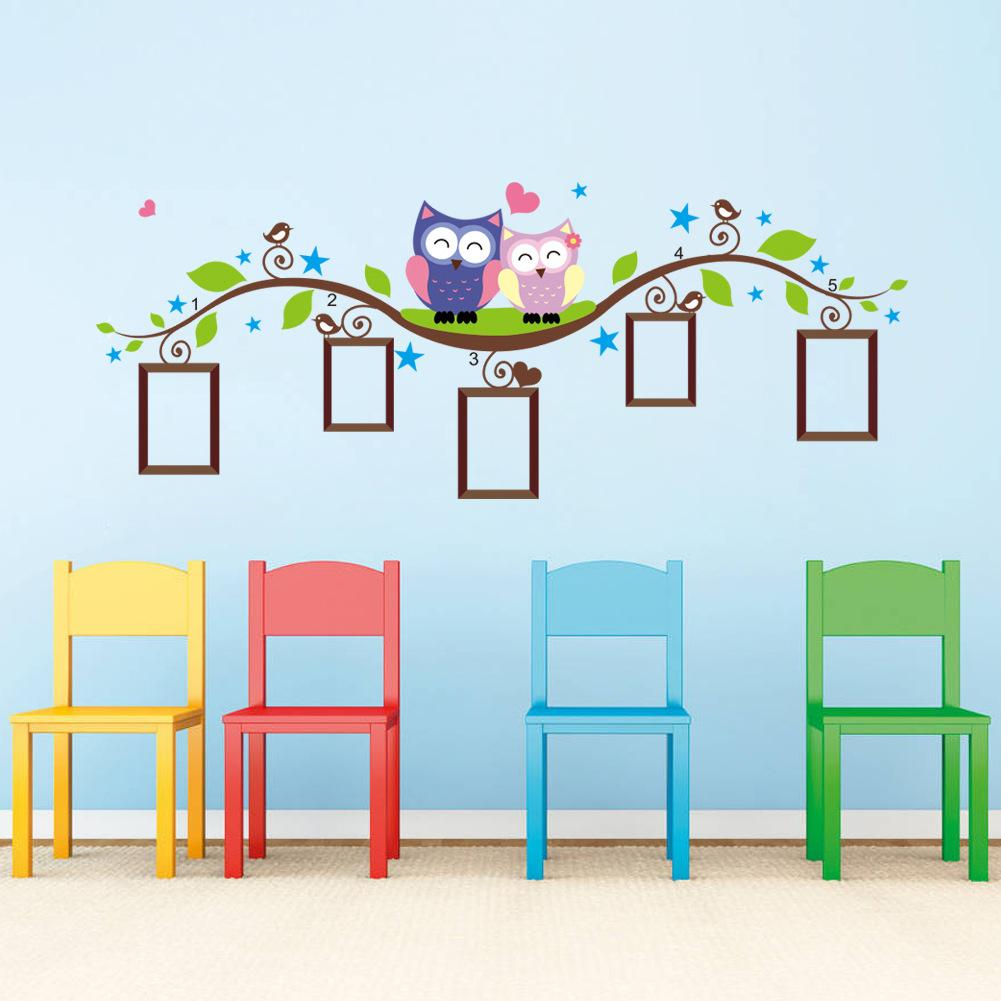 Kids Wall Decor Owl Tree Branch Photo Frames Wall Decal Removable Wall Stickers