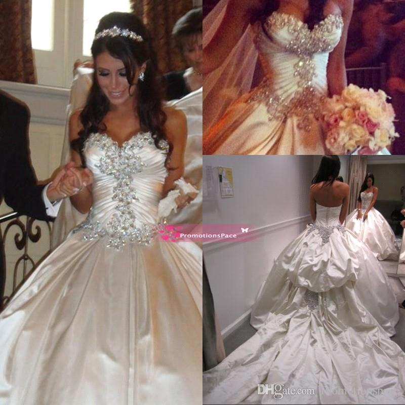 Cathedral 2015 Vintage Ball Gown Wedding Dresses Sweetheart Lace Up Corset Back  Plus Size Beading Crystal Wedding Gowns Custom Made BO7818 Tulle Wedding ... 3440b4634e59