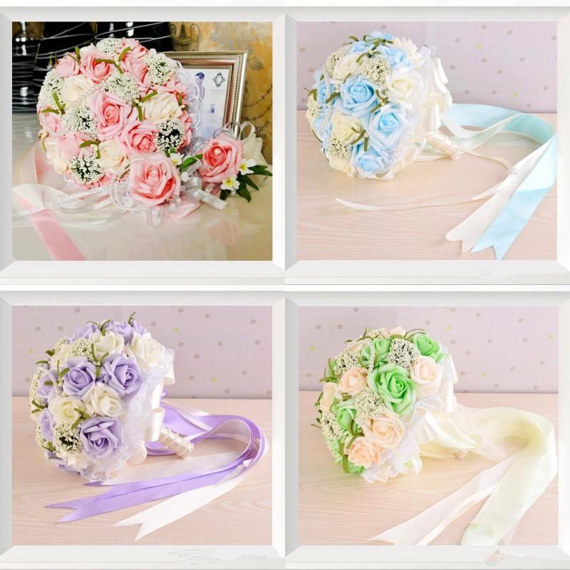 beach bridal bouquets blue purple pink bouquet rose bridesmaid wedding flowers artificial wedding bouquets for bride hand holding flower fake flower