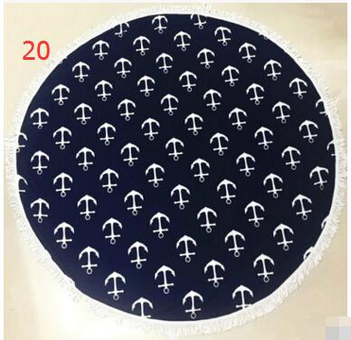 Grandes serviettes de plage rondes imprimées en microfibre avec gland Serviette de plage Serviette De Plage Écharpe Châles 51 Couleurs
