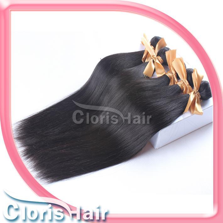 Fin de grosor del pelo brasileño barata recta sin procesar extensiones de cabello 100% Remi pelo humano de la armadura de lotes ofertas al por mayor 1b 10-28
