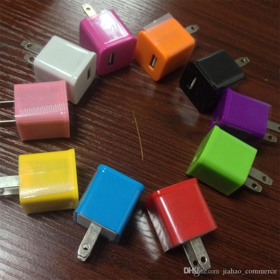 Chargeur mural mural USB portable avec adaptateur secteur domestique coloré pour téléphone intelligent, téléphone mobile, téléphone Android /
