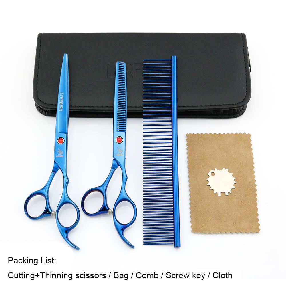 Hair scissors 7 INCH Cutting scissors Thinning shears 6.5 INCH LYREBIRD Blue Dog Grooming scissors NEW