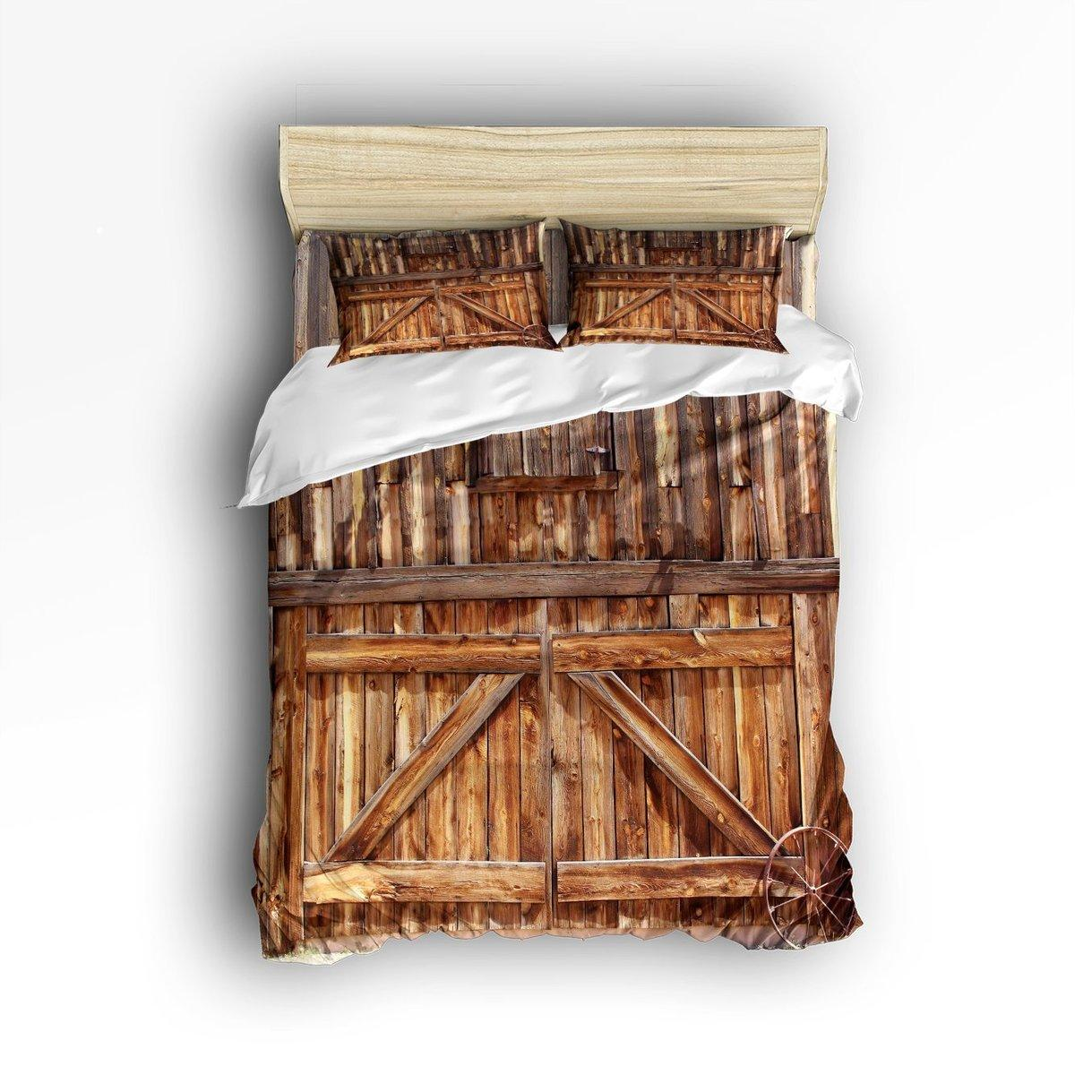 Charmhome Custom Rustic Wooden Door Printed 3d Bedding Sets Duvet Cover Bed  Sheet Pillowcases For Adult Kids Queen Comforter Cover Cheap Queen Bedding  Sets ...