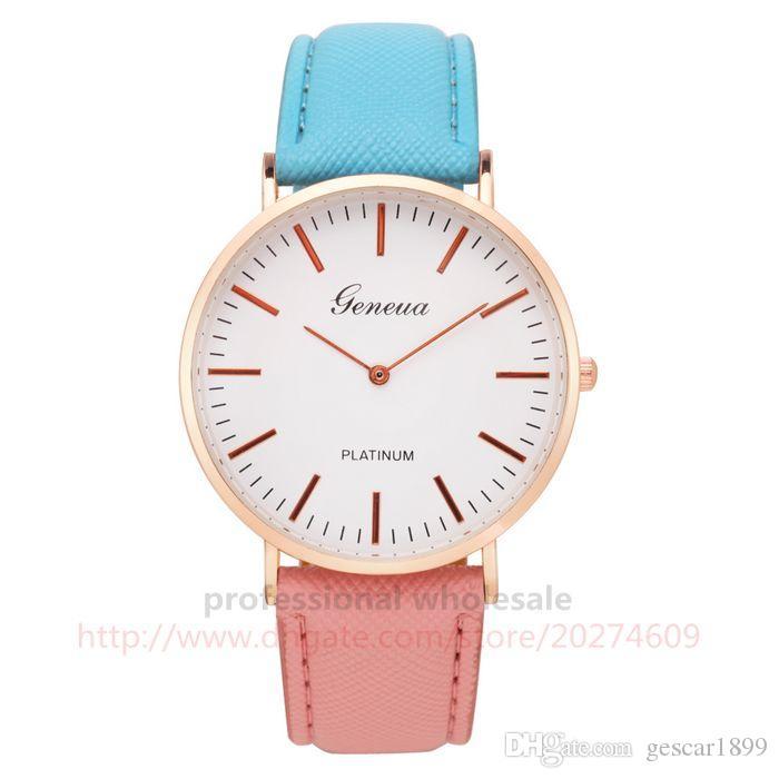 Brand New Fashion Style 6 Цветов Рождественский Подарок Красочные Кожаный Ремень Часы Кварцевые Наручные Часы Для Мужчин Женщин Пара Детей
