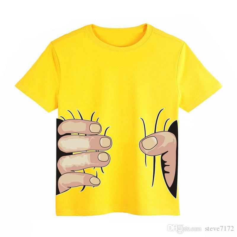 3D Big Hand Children's T-Shirts Catch You Casual Short Sleeves Tees Cotton Boy Clothes Blue Tee Shirts for Kids