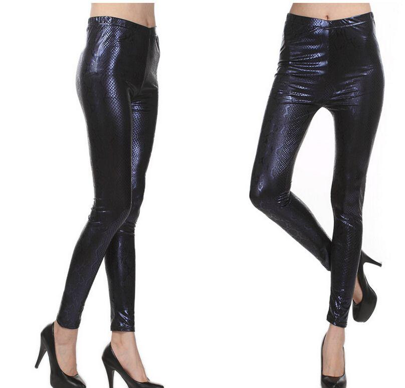 Online Cheap Tall Waist Shiny Golden Leggins Women Snake Skin ...