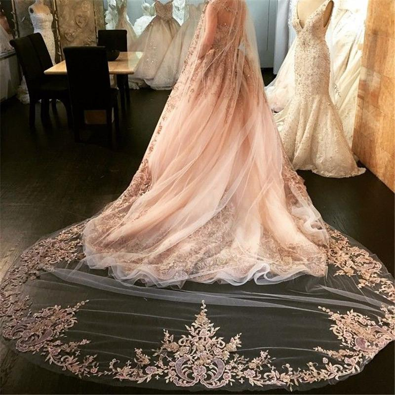 Best Selling Luxury Wedding Veils Four Meters Long Rhinestone Lace Applique One Layer Soft Tulle Cathedral Length Cheap Bridal Veil 2017