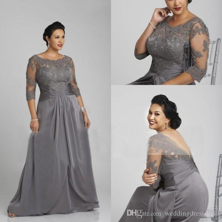 Designer Plus Size Grey Mother Formal Wear Half Sleeve Chiffon