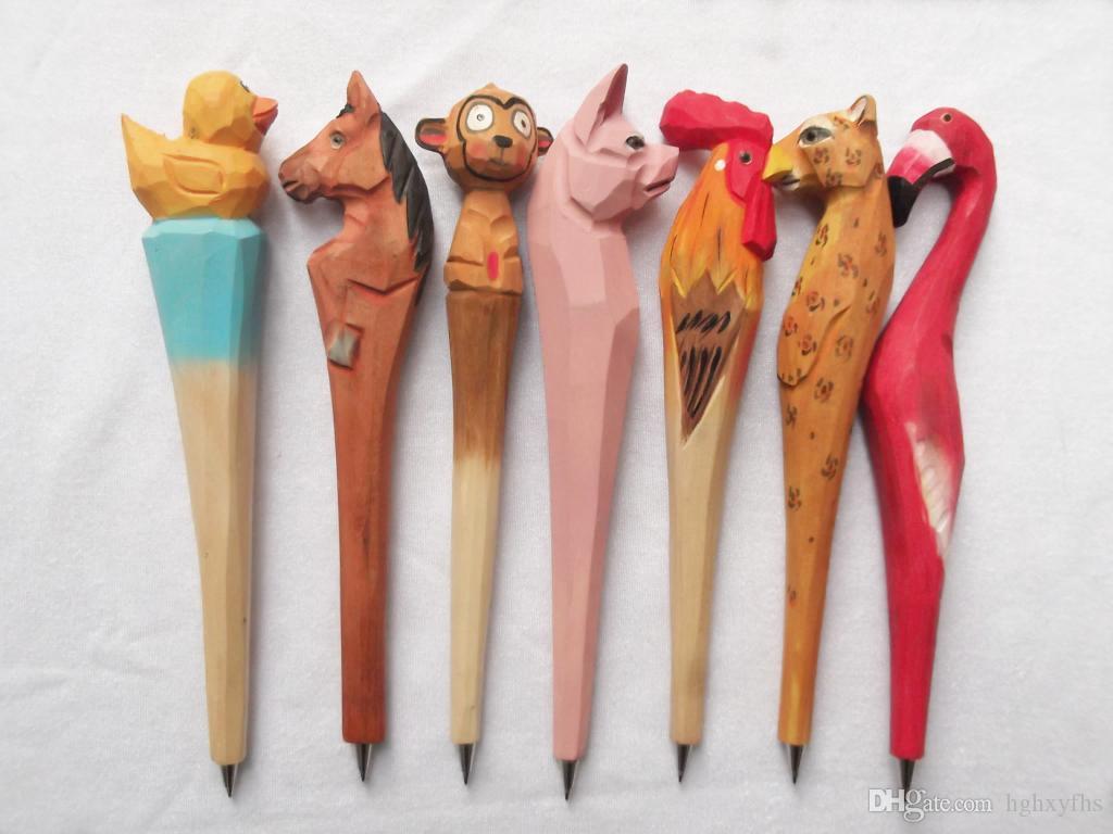 Houten dier creatieve balpen vorm carving pennen hout handgemaakte beeldhouwkunst student