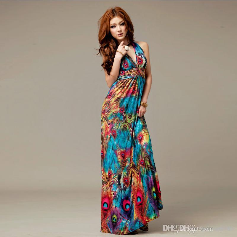 3ca5007e55 Maxi Dresses Plus Size Summer Dresses 2015 Fashion Bohemian Printing Color  Peacock Flower Milk Silk Dress Sexy Deep V Halter Four Colors Women Dress  Style ...