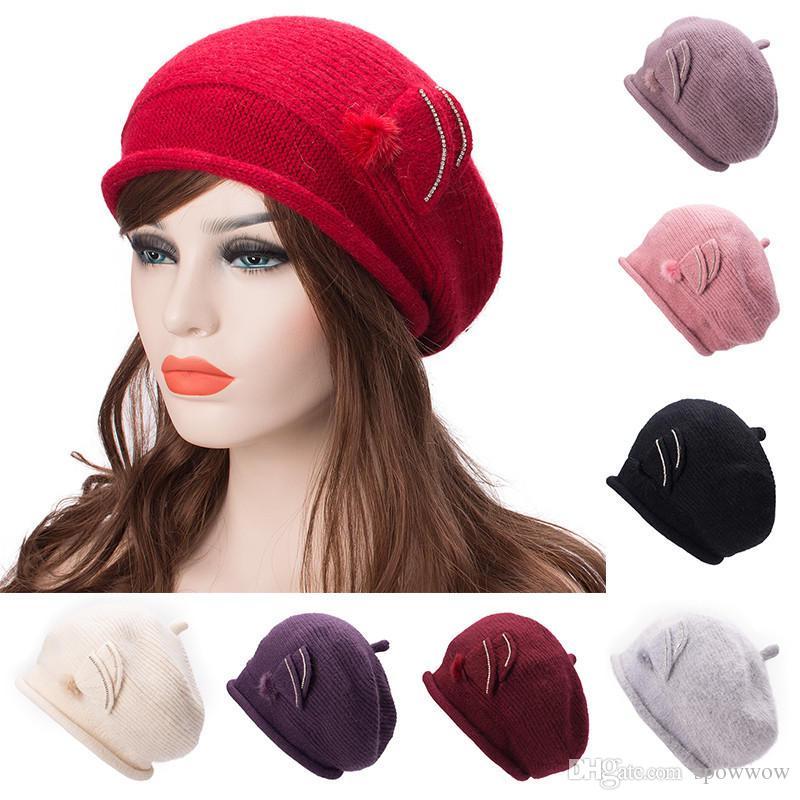 Casual Women Winter Angora Knit Hat Beret Beanie Skullies Fleece Inside  Crochet Ski Warm Cap A479 Beanie Cap Watch Cap From Spowwow 762eb2f802b6