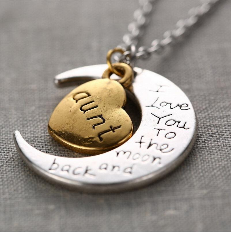 "Family Gifts Statement Necklace Moon Pendants For Brother "" I Love You To The Moon And Back "" DIY Jewelry Pendants Chains"