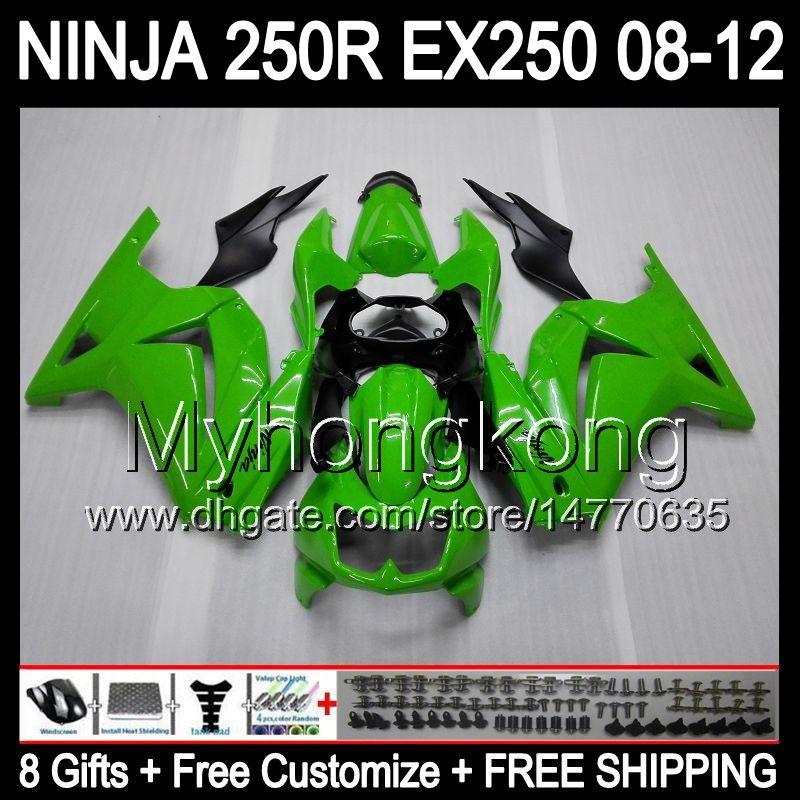 8Gifts + Кузов для KAWASAKI ZX 250R EX250 08-12 MY27 ZX250R 08 09 10 11 12 EX 250 Глянцевая зеленый ZX250R 2008 2009 2010 2011 2012 обтекателя