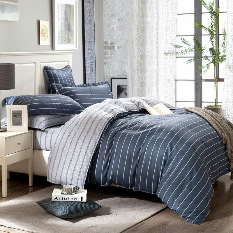 Simple 100 Pure Cotton Bedding Set King Size Striped Bedspread Grey