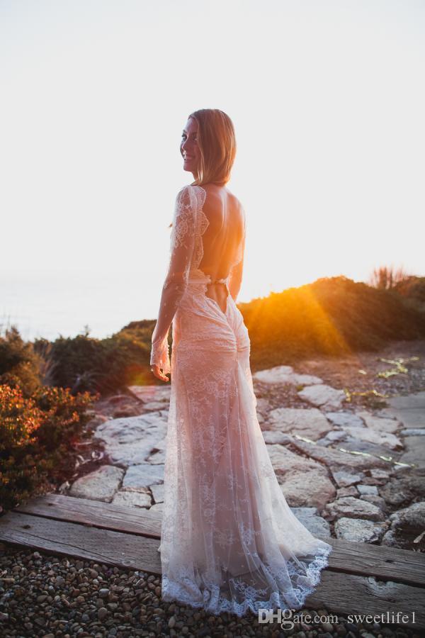 칼집 레이스 긴 소매 Boho 웨딩 드레스 2019 V 목 빈티지 스위프 기차 백리스 브라 가운 사용자 정의 만든 저렴 한 고품질