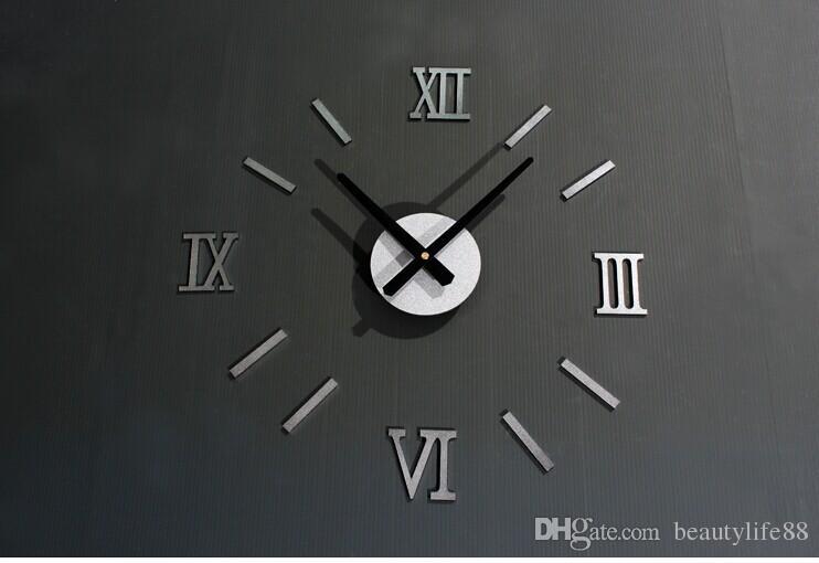لامع diy متعة ساعة الإبداعية الأزياء ساعة الحائط الأرقام الرومانية الأوروبية diy ساعة الحائط