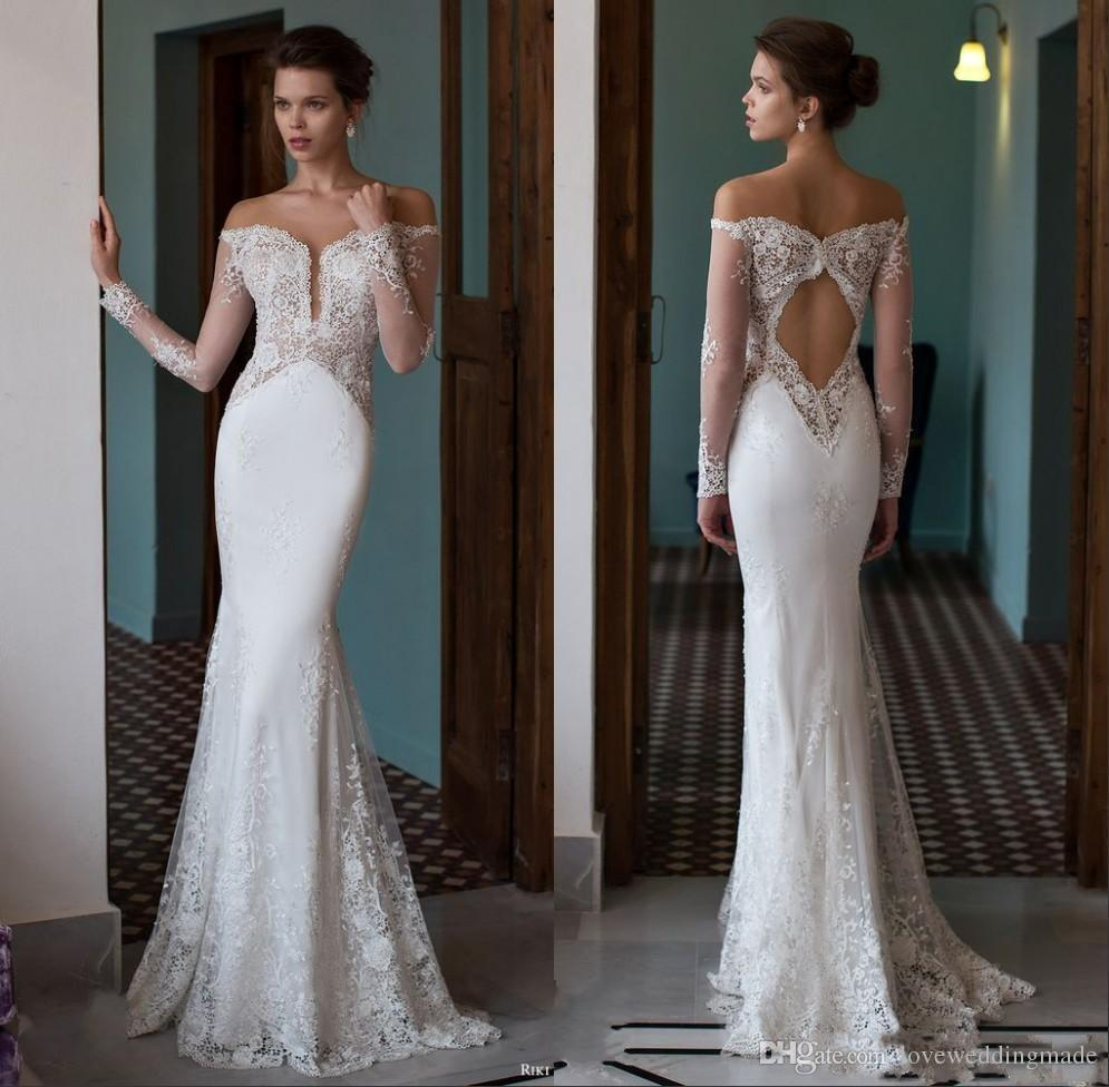 White Backless Lace Mermaid Wedding Dresses 2018 V Neck: 2017 Charming Mermaid Lace Sheer Long Sleeve Wedding