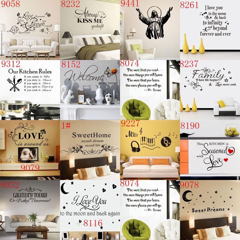 mixed 168 styles wall quotes decal words lettering saying wall decor