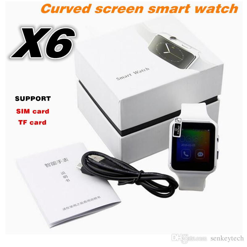 "New Bluetooth Smart Watch X6 Smartwatch Sport Watch 1.54"" Curved Screen Clock Support Camera SIM Card For Android phone"