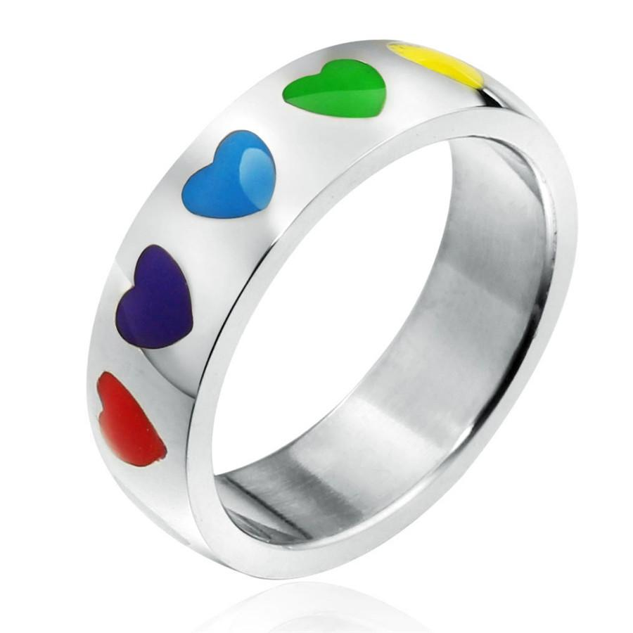 Stainless Steel Rainbow Love Heart Couples Ring Band Gay Wedding ...