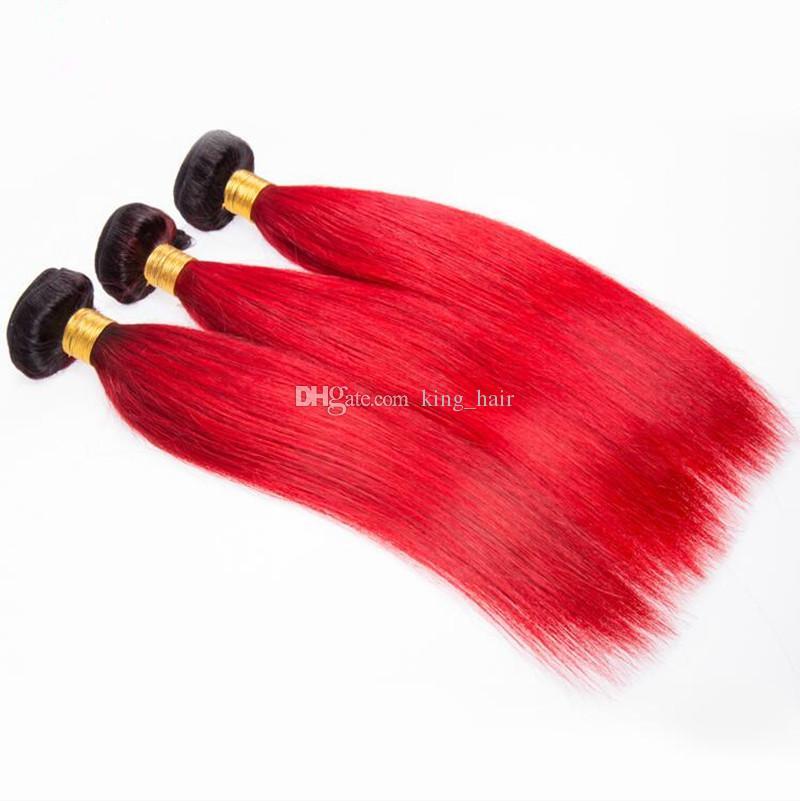 Темные корни 1B Красный человеческих волос пучки 3 шт. С кружева закрытия Ombre цвет темные корни прямые волосы ткет с верхней закрытия