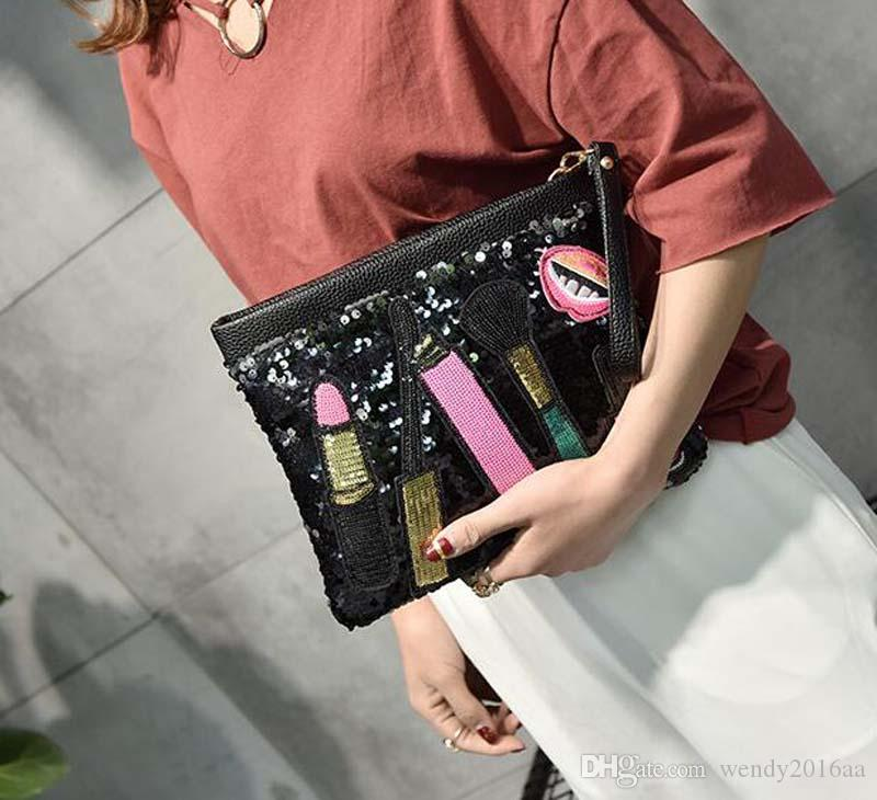 2017 Novas Sacos De Ombro Mulheres Lip Patten Lantejoulas Flap Sacos De Embreagem Senhoras 4 cores Zíper sacos de corpo Cruz