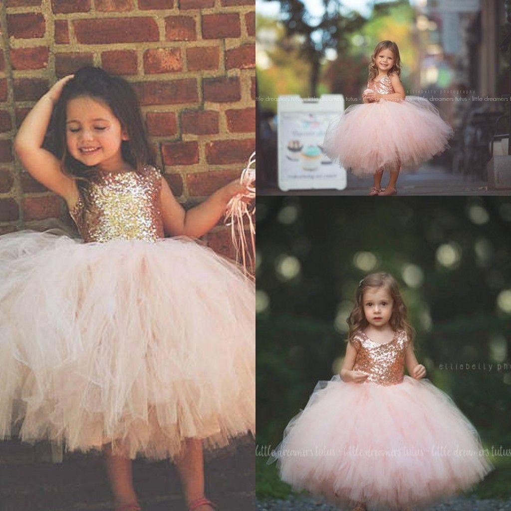Blush Pink Tutu Toddler Infant Flower Girls Dresses 2018
