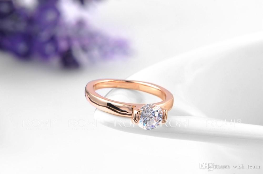 Vente chaude 2016 De Mode Cristal Full Size Zircon Anneau De Mariage Bague De Fiançailles Bijoux De Mariée 24 K Or Rose Rempli A036