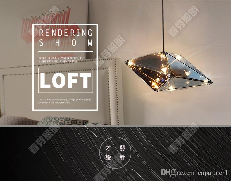 Luxury Crystal Chandelier Modern glass droplight sitting hotel art creative personality restaurant diamond geometric diamond cafe droplight