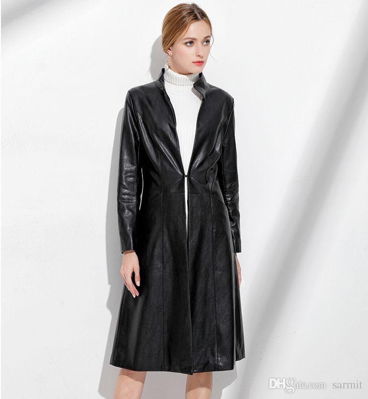 Acheter NOUVELLE VENTE D ARRIVÉE 2017 Mode Femmes Noir En Faux Cuir Trenchs  Manteaux Veste Long Manteau En Cuir Manteau Manteau En Cuir Col Montant  CAF222 ... 083f7f478c2