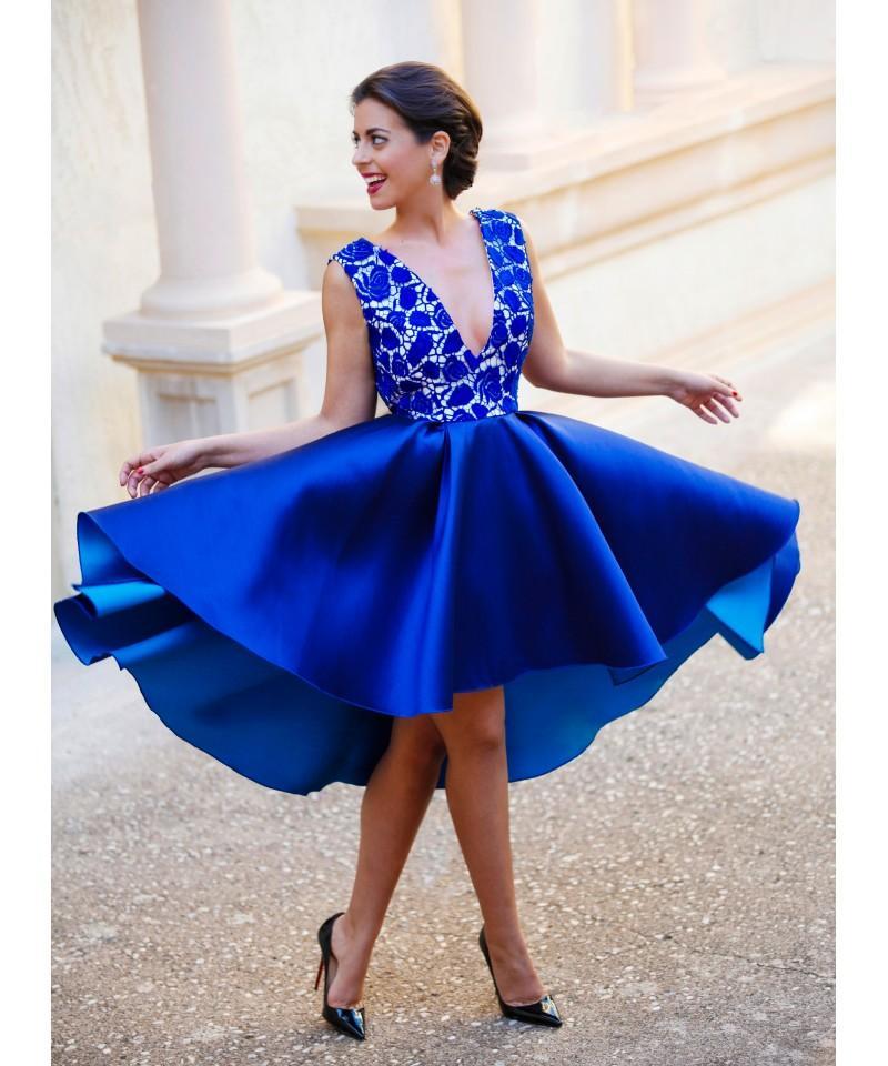2020 королевский синий на заказ V-образным вырезом спинки короткие коктейльные платья кружевной топ атласные сексуальные вечерние платья дешевые платья партии